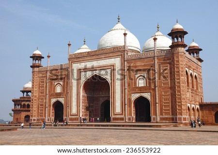 Agra, INDIA - February 12 : The mosque by the Taj Mahal in Agra, India. on Feb 12 ,2013