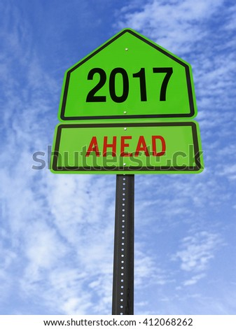 2017 ahead road sign over blue sky with clouds - stock photo