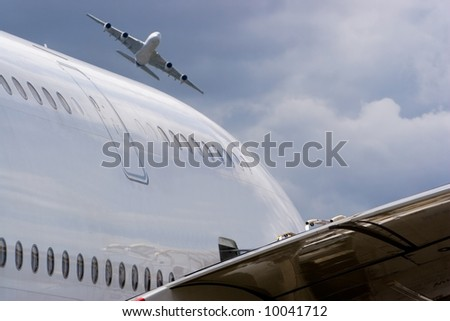 2 Airbus A380 without trademarks - stock photo