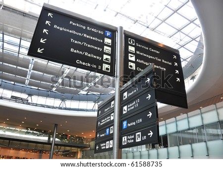 Airport information board - stock photo