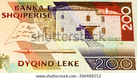 200 Albanian lek bank note. Albanian lek is the national currency of Albania