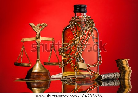 alcohol and justice - stock photo