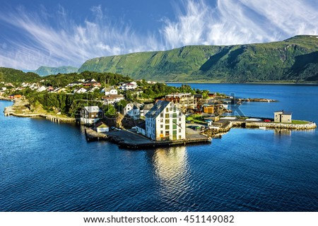 Alesund, Norway. Sea View On Houses On The Island In Summer, Norwegian  Fjords