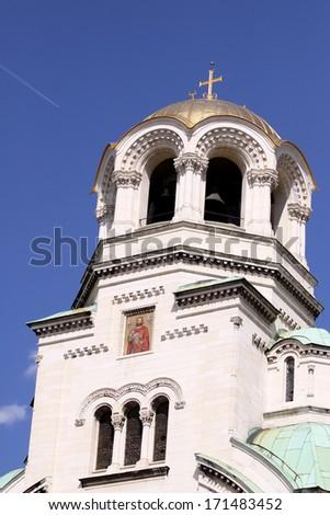 Alexander Nevsky Orthodox church, gold cross, - stock photo