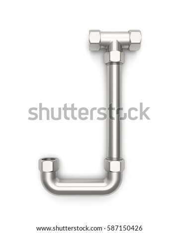 Alphabet made of Metal pipe, letter J. 3D illustration