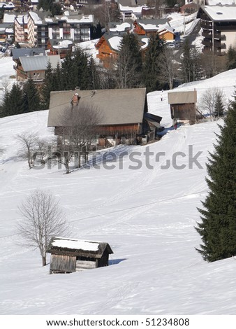 Alpine village and chalets in  Chatel,French Alps, France
