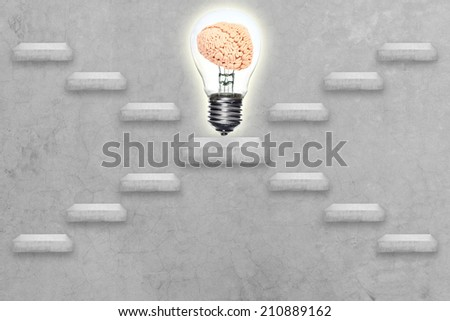 alternative staircase go to brain inside a light bulb conceptual step by step of business to creativity for success  - stock photo