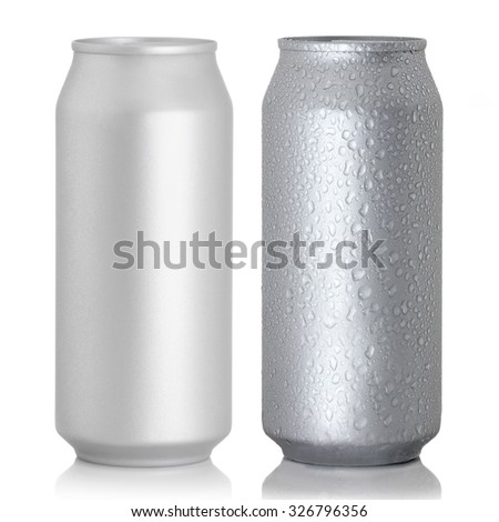 Aluminum thin cans on a white background - stock photo