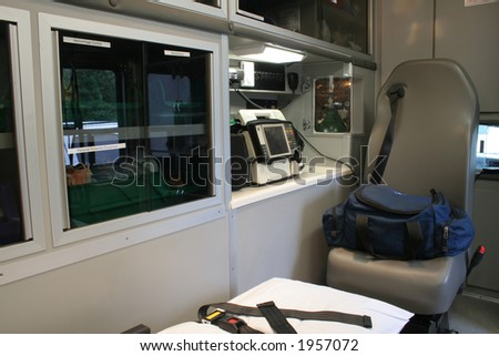 """Ambulance Interior""  Interior view of the patient compartment of an ambulance. Paramedic unit. - stock photo"