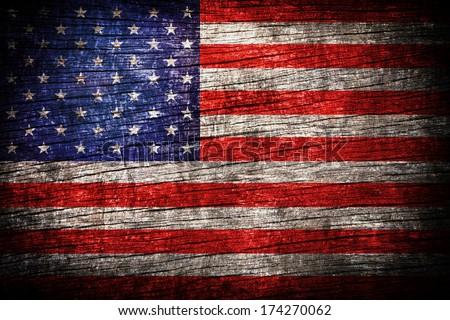 America flag painted on old wood plank background  - stock photo