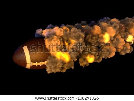 American Football on Fire - stock photo