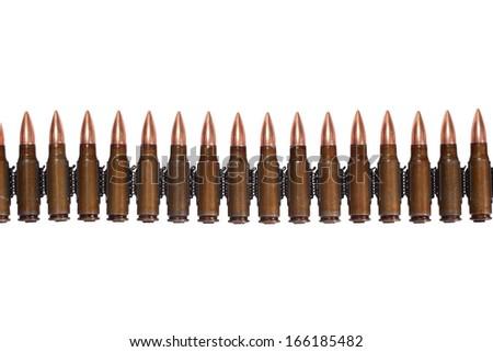 ammunition belt on white background - stock photo