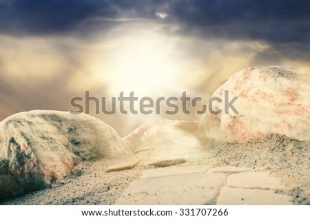 An amazing heavenly light on the top of the mountain of transfiguration/Point of enlightenment/Heavenly light radiance - stock photo