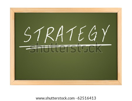 An illustration of a chalk board with the word strategy - stock photo