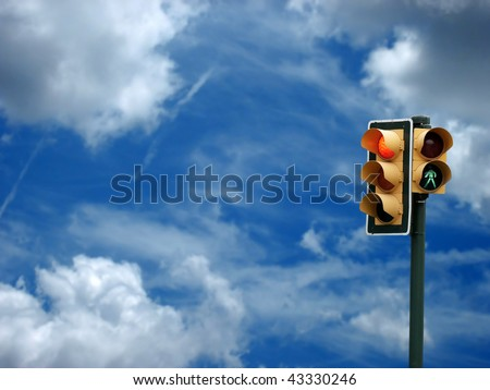 an image of traffic lights while red light on - stock photo