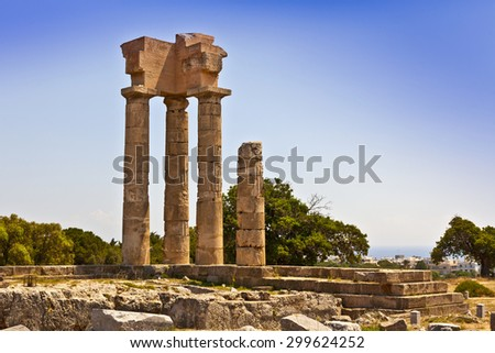 Ancient remains of the Apollo temple at Rhodes acropolis in Greece      - stock photo