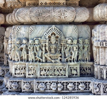 Ancient Sun Temple in Ranakpur. Jain Temple Carving.  Ranakpur, Rajasthan, Pali District, Udaipur, India. Asia. - stock photo