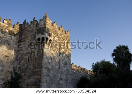 ancient wall in jerusalem - stock photo