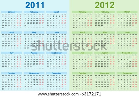 2011 and 2012 Calendar. - stock photo