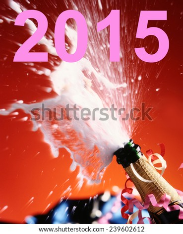 2015 and Close-up of champagne.  - stock photo