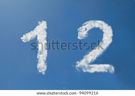 1 and 2  clouds number - stock photo