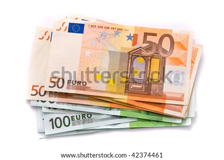 100 and 50 Euro banknotes isolated on a white with soft shadows - stock photo