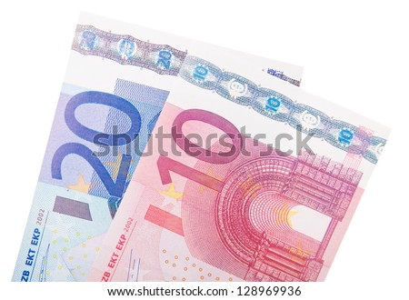 20 and 10 euro note. All on white background. - stock photo