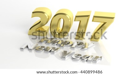 2017 and happy new year 3d rendering on white background