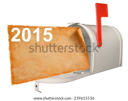 2015 and Mailbox. - stock photo
