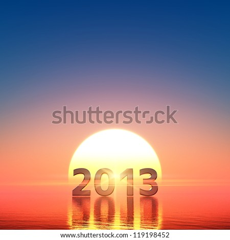 2013 and sun rise - stock photo