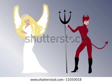 angel and she devil - stock photo