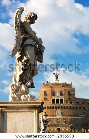 Angel statue on Ponte del Angelo Rome
