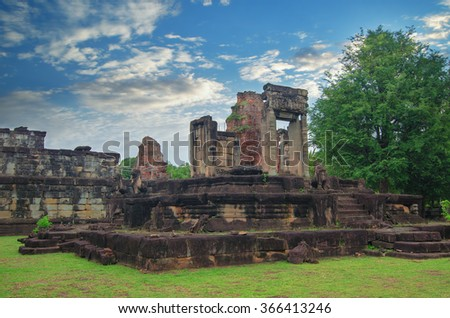 Angkor Wat in Cambodia against blue sky. - stock photo
