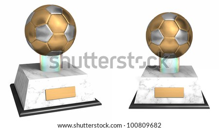 2 angles of a soccer award with a gold and silver ball - stock photo