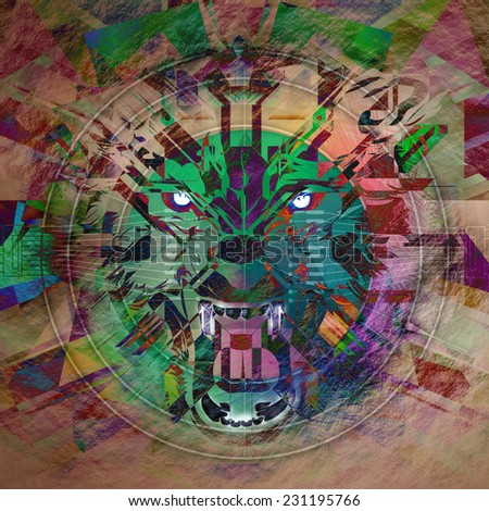 Angry wolf colorful abstraction - stock photo