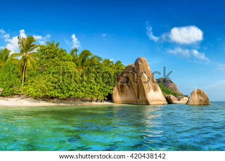 anse source d'argent beach on la digue island in seychelles - stock photo