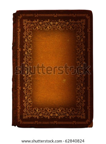 12 Antique book with decoration stamped in gold, from nineteenth century - stock photo