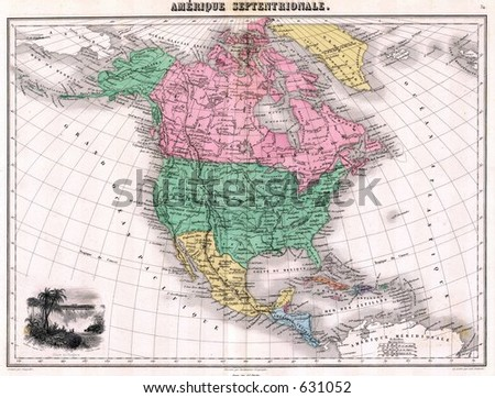 1870 Antique Map of North America - stock photo