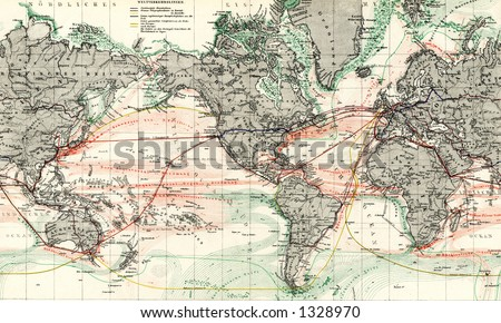 1872 antique map world ocean currents stock illustration 1328970 1872 antique map of world ocean currents detail gumiabroncs Images