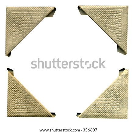 4 antique picture corners. Some grunge and wear intact. Hi Res. Work path. Just drop in your image. - stock photo