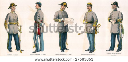 1890 Antique Print Civil War Confederate Officers Soldiers