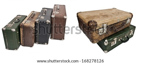 Antique suitcases - stock photo