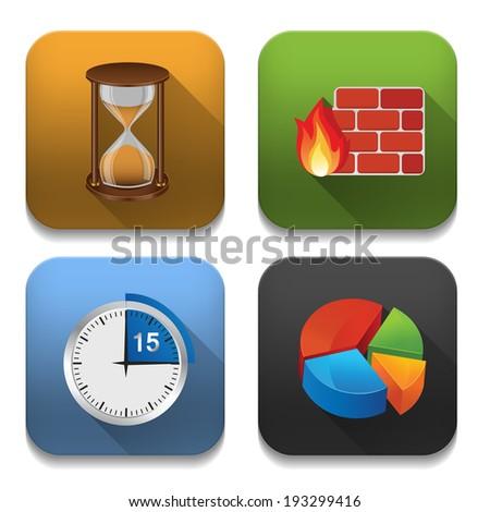 app icons, illustration of application icons set - stock photo