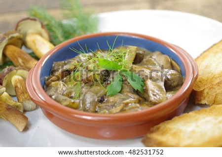 appetizing stewed mushrooms with bread  on plate