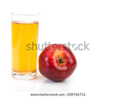 apple with juice isolated on white