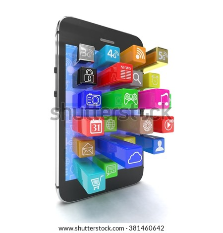 application software icons extruding from smartphone, isolated on white - stock photo
