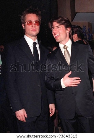 17APR98:  Actors TOM CRUISE (right) & BRAD PITT at the Beverly Hilton Hotel where Cruise was honored with the 1998 John Huston Award by the Artists Rights Foundation.