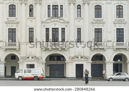 16 Apr 2015 : People walking around centre of city, surround by Colonial building, Lima, Peru - stock photo