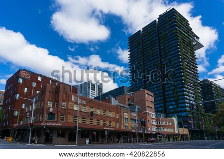 2016, Apr 25: Sydney, Australia. Historic buildings on Broadway street. Sutherland Hotel and One Central Building. Art Deco and modern style