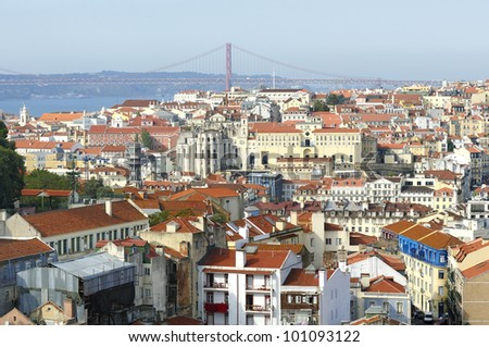 25 April bridge and view of the Lisbon and river Tagus. Portugal - stock photo